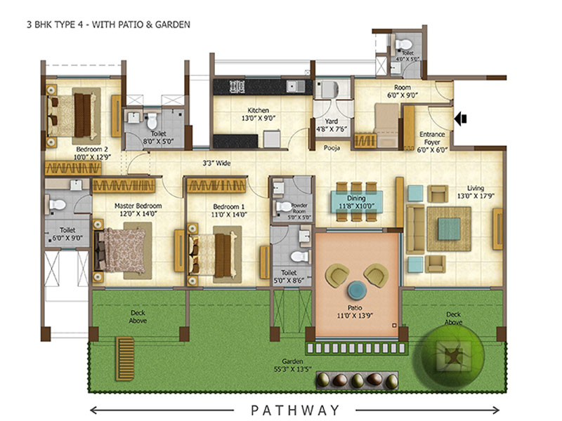 Ashok Meadows 2/3 BHK Apartments Floor Plan